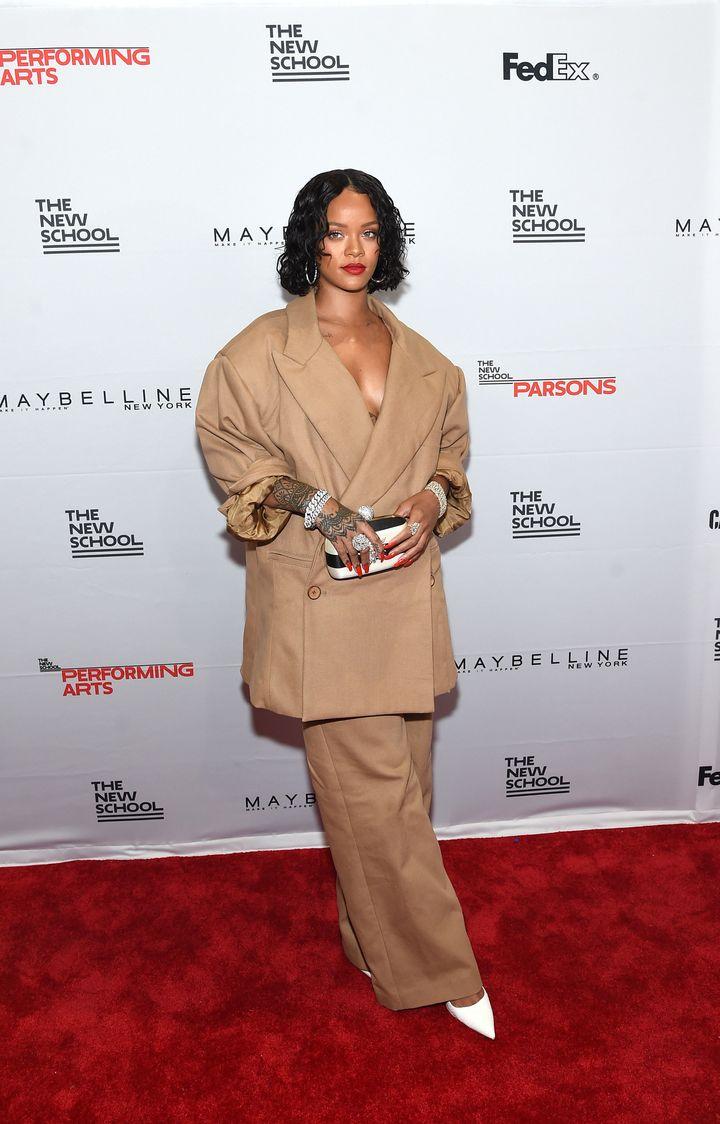 Rihanna in a suit designed by Parsons graduate Matthew Adams Dolan.