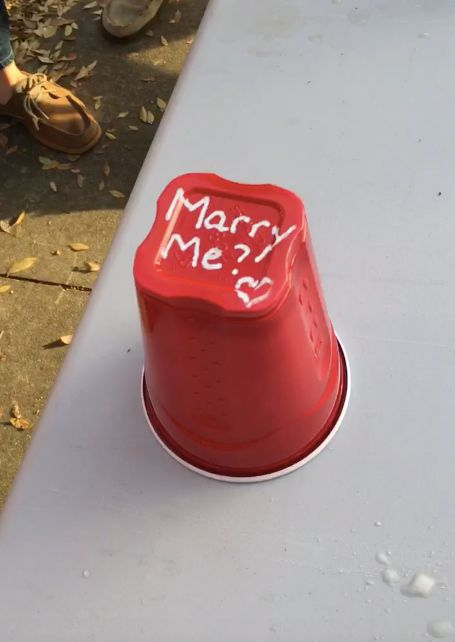 "The cup read, ""Marry me?"""