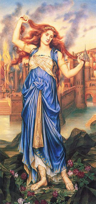 Cassandra in front of the burning city of Troy at the peak of her insanity.