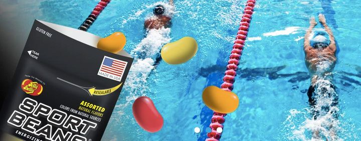 Jelly Belly advertises its Sport Bean on its website with images of athletes.