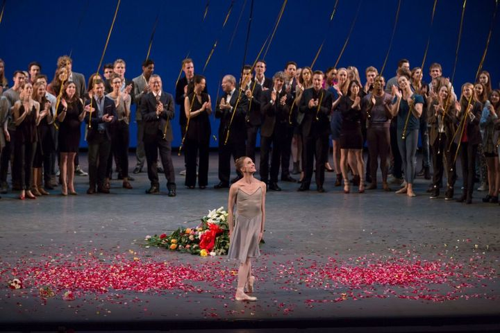 Whelan takes her final bows at her farewell performance in 2014.