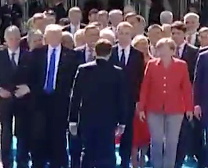 Emmanuel Macron Swerves Donald Trump To Hug Angela Merkel