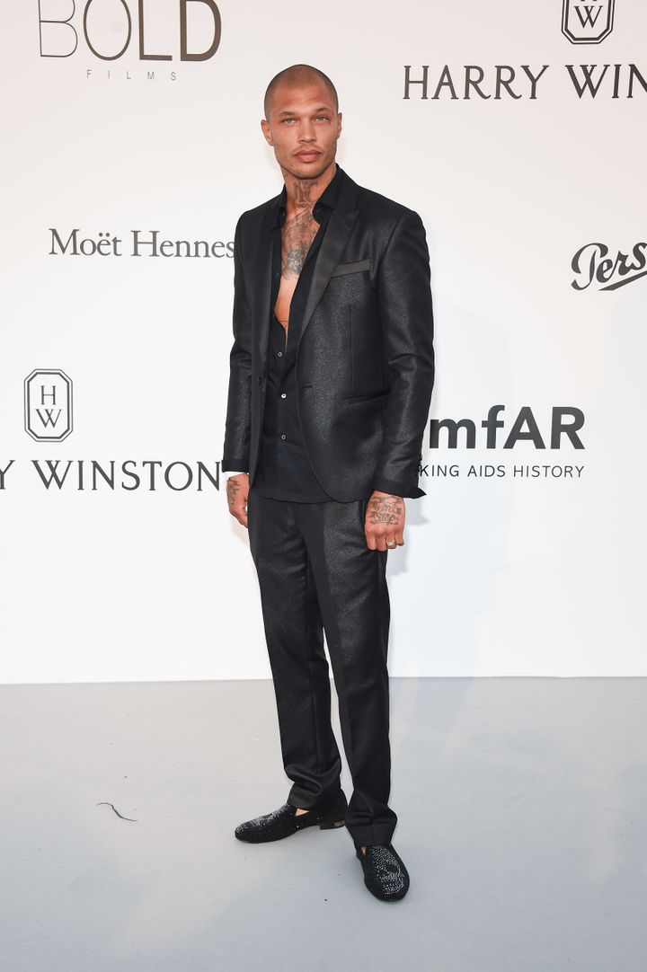 Jeremy Meeks arrives at the amfAR Gala at Cannes.