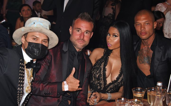Alec Monopoly, Philipp Plein, Nicki Minaj and Jeremy Meeks attend the amfAR Gala Cannes.