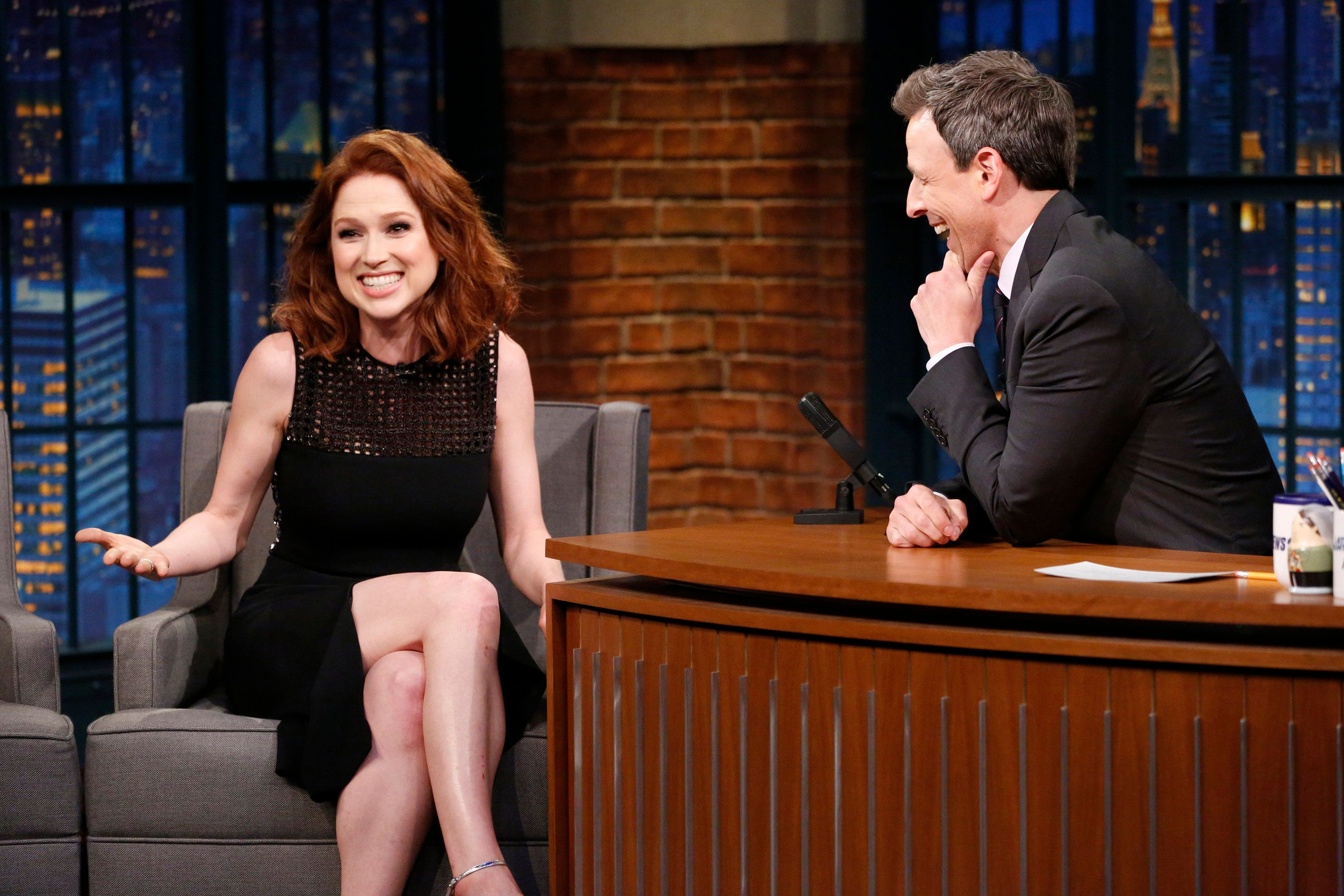 LATE NIGHT WITH SETH MEYERS -- Episode 534 -- Pictured: (l-r) Actress Ellie Kemper talks with host Seth Meyers during an interview on May 24, 2017 -- (Photo by: Lloyd Bishop/NBC/NBCU Photo Bank via Getty Images)