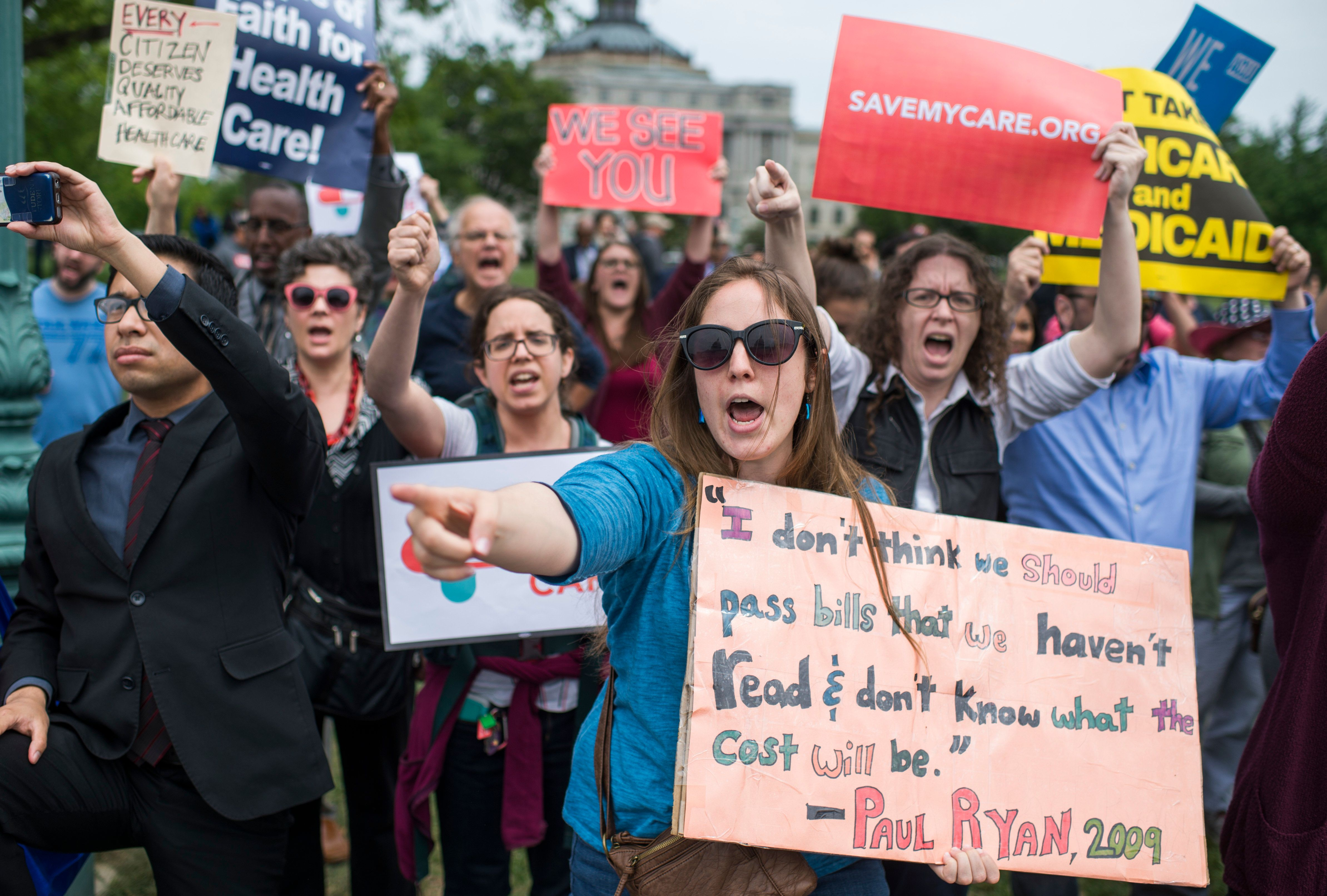 Women protest the AHCA at the Capitol in Washington D.C. earlier this month.