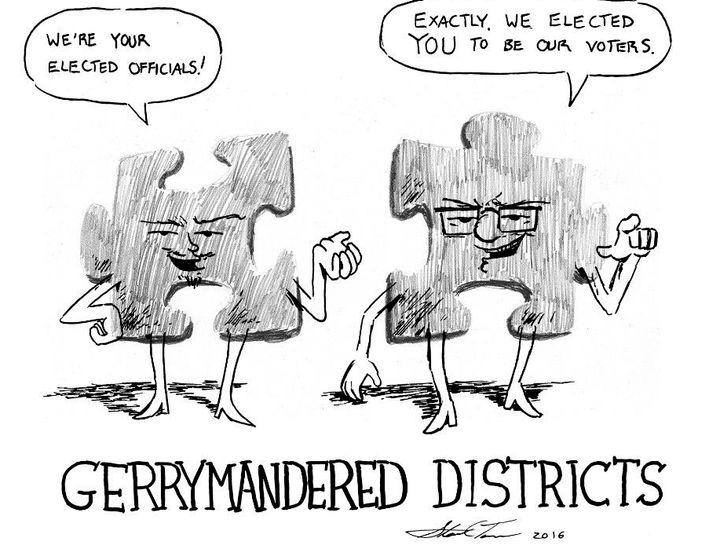 Political cartoon about gerrymandering.