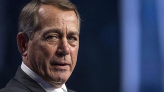 John Boehner, former U.S. House Speaker, speaks during the Skybridge Alternatives (SALT) conference in Las Vegas, Nevada, U.S., on Thursday, May 12, 2016. The SALT Conference facilitates balanced discussions and debates on macroeconomic trends, geopolitical events, and alternative investment opportunities within the context of a dynamic global economy. Photographer: David Paul Morris/Bloomberg via Getty Images