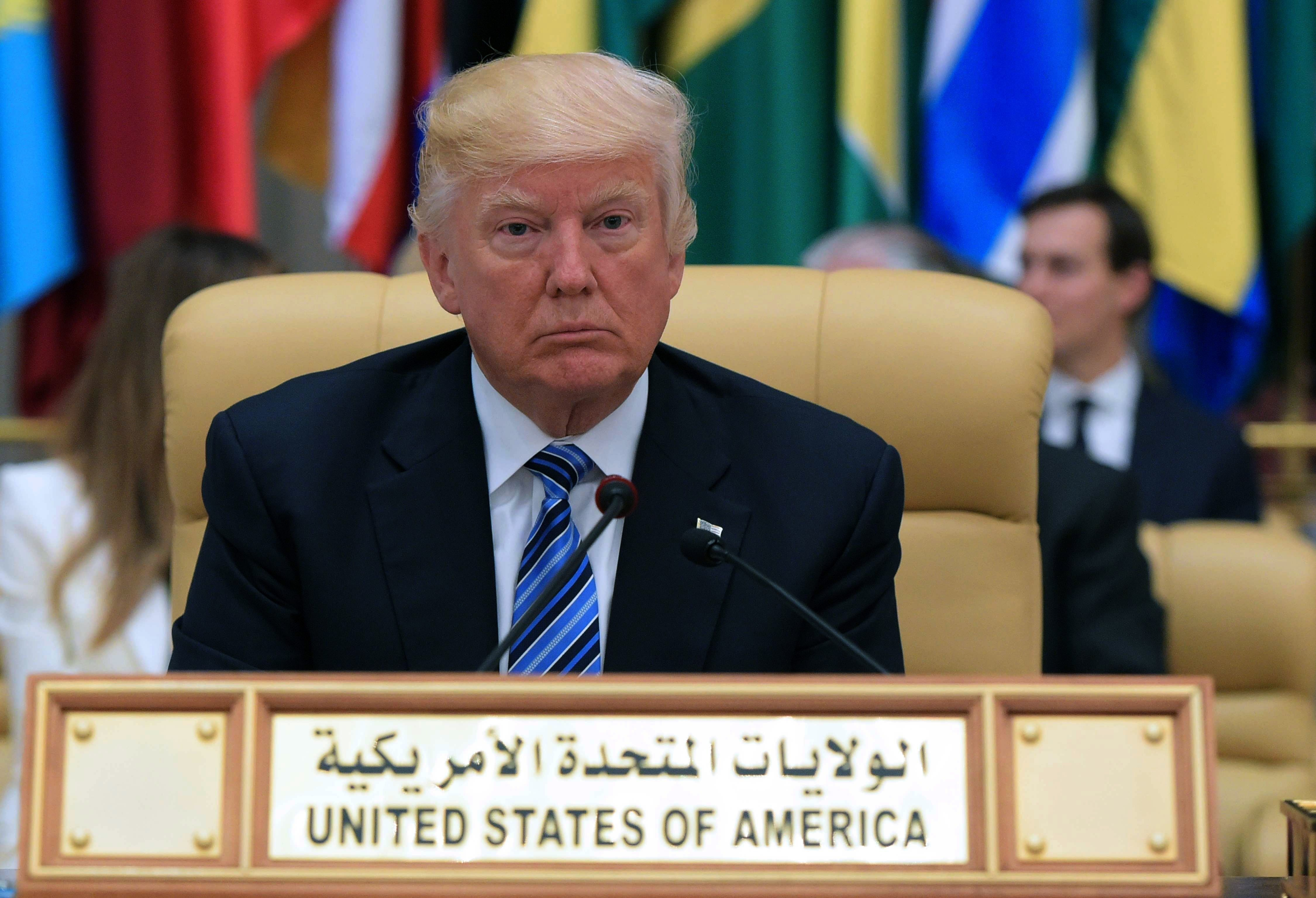 President Donald Trump is seated during the Arab Islamic American Summit at the King Abdulaziz Conference Center in Riyadh on