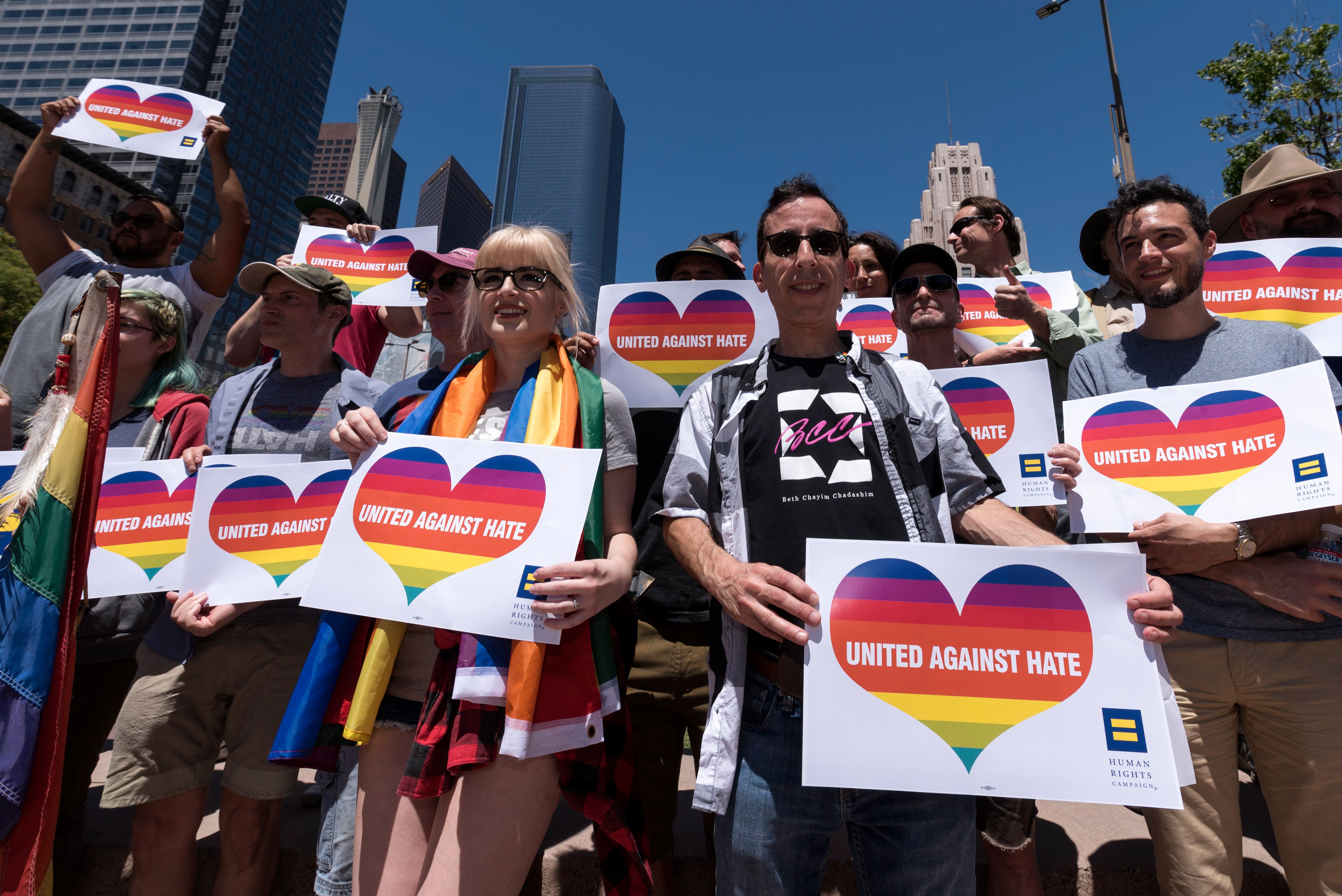Activists gather to protest the reported detention and deaths of gay men and trans women in Chechnya. Los Angeles, California on May 20, 2017.  (Photo by Ronen Tivony/NurPhoto via Getty Images)