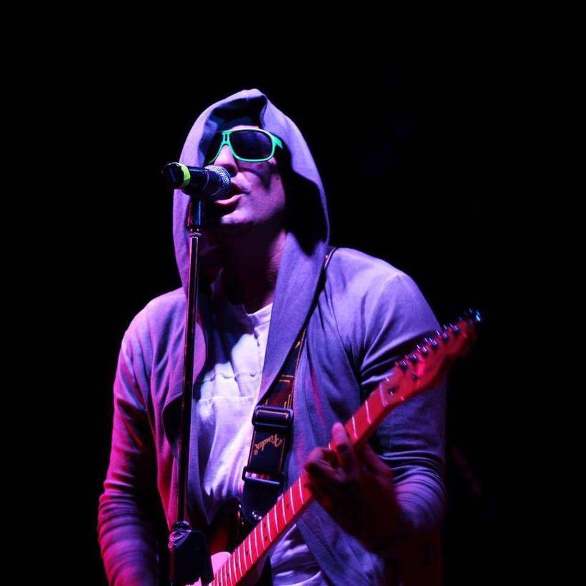 Nikos Dimitriadis, lead singer of Greek band The Gang, during a summer 2016 show in Halkidiki Beach.