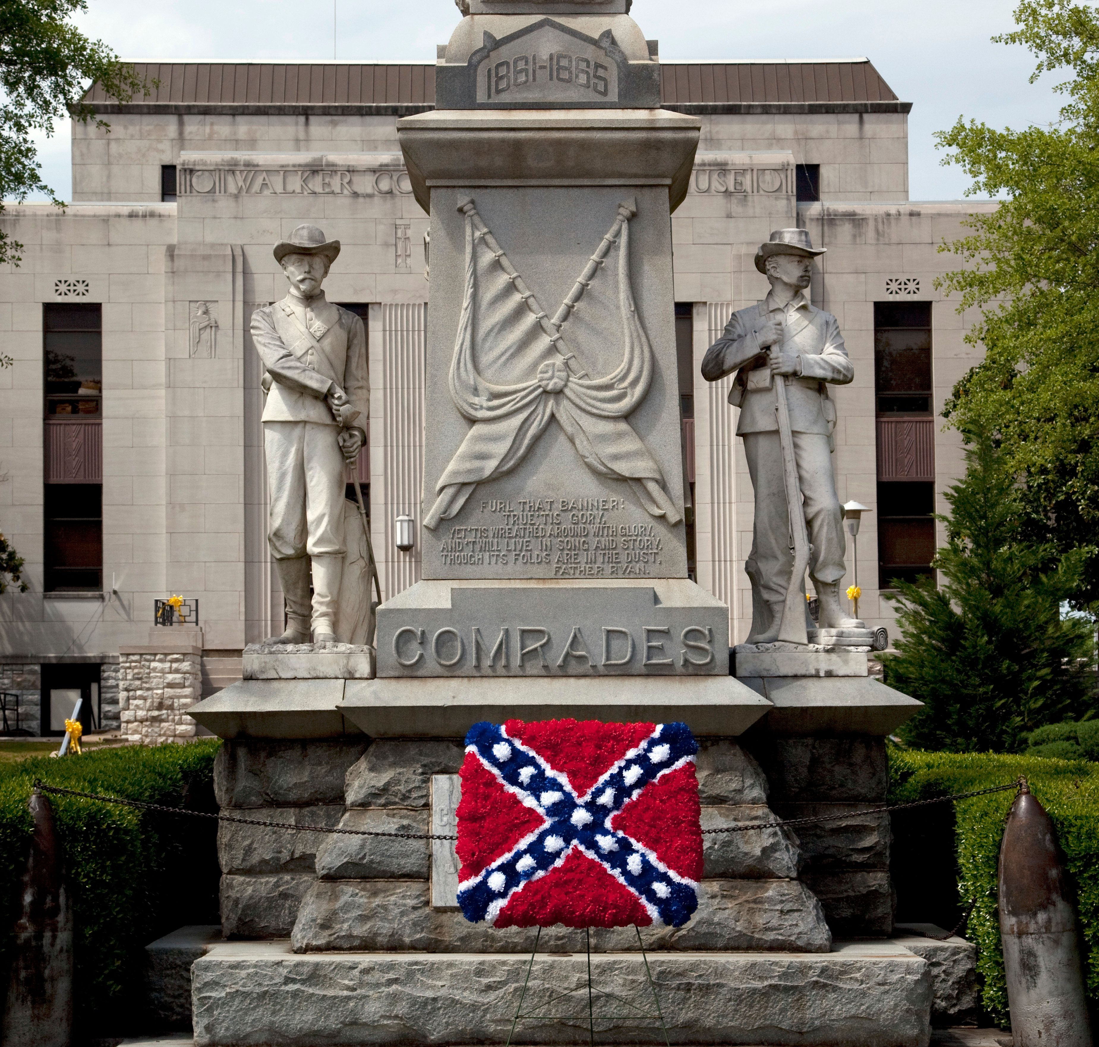 A Confederate memorial, with an added Confederate flag made out of flowers, is shown in Jasper, Alabama, in 2010.