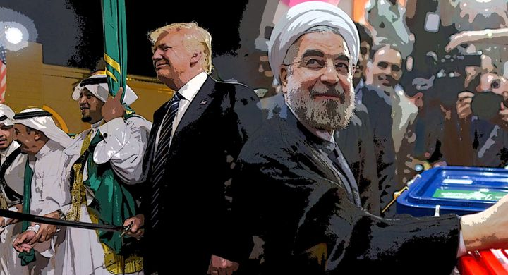 Trump's message in Saudi Arabia came as Iranians re-elected reformist Rouhani.