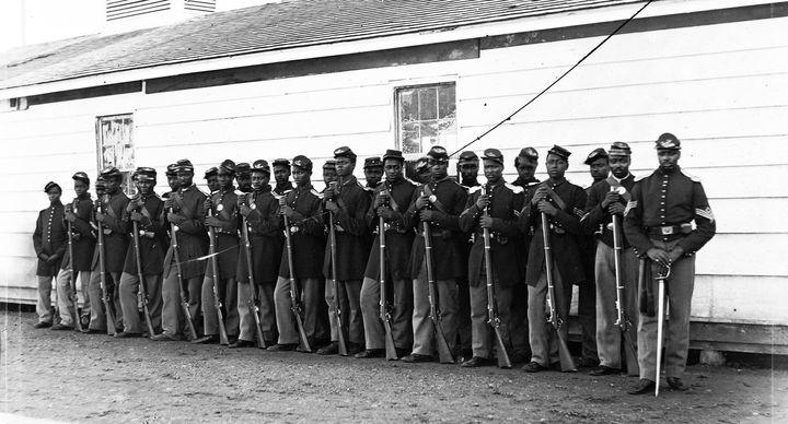 """<p>Black Civil War Union Soldiers from the """"4th United States Colored Infantry Regiment""""</p>"""