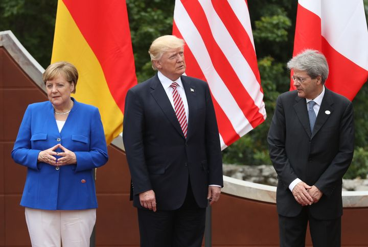 From left: German Chancellor Angela Merkel, U.S. President Donald Trump and Italian Prime Minister Paolo Gentiloni arrive for
