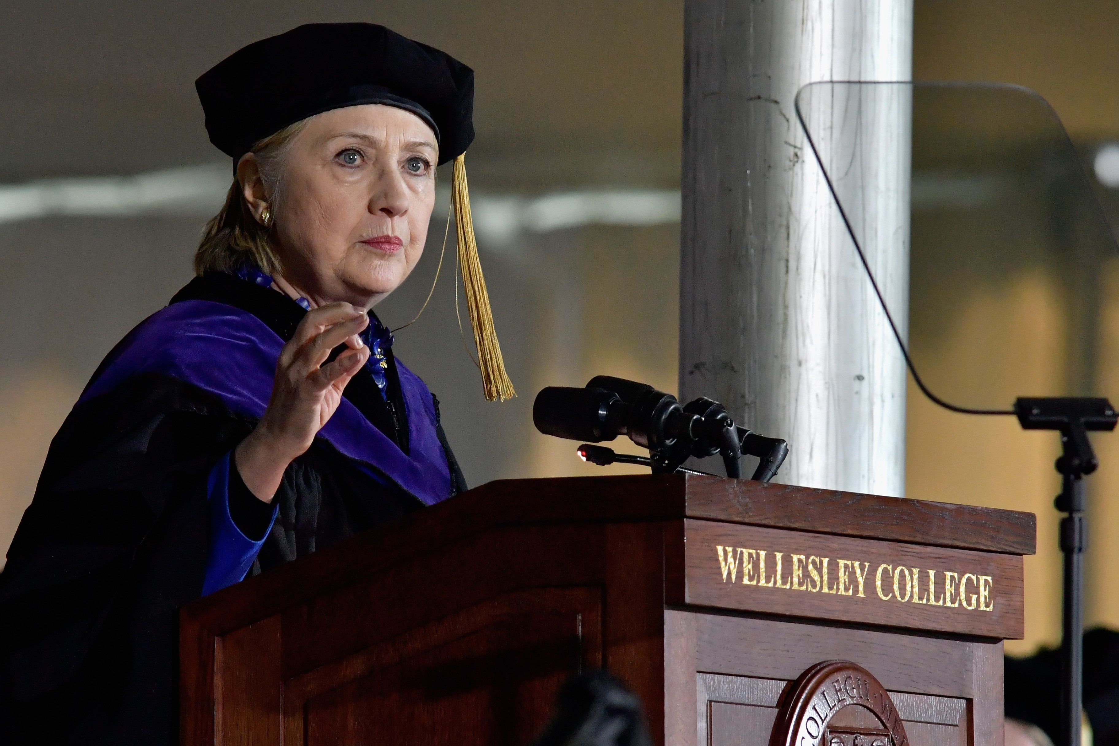 BOSTON, MA - MAY 26:  Hillary Clinton gave the Commencement Address at the Wellesley College 2017 166th Commencement Exercises at Wellesley College on May 26, 2017 in Boston, Massachusetts.  Clinton graduated from Wellesley College in 1969 and majored in political science.  (Photo by Paul Marotta/WireImage,)