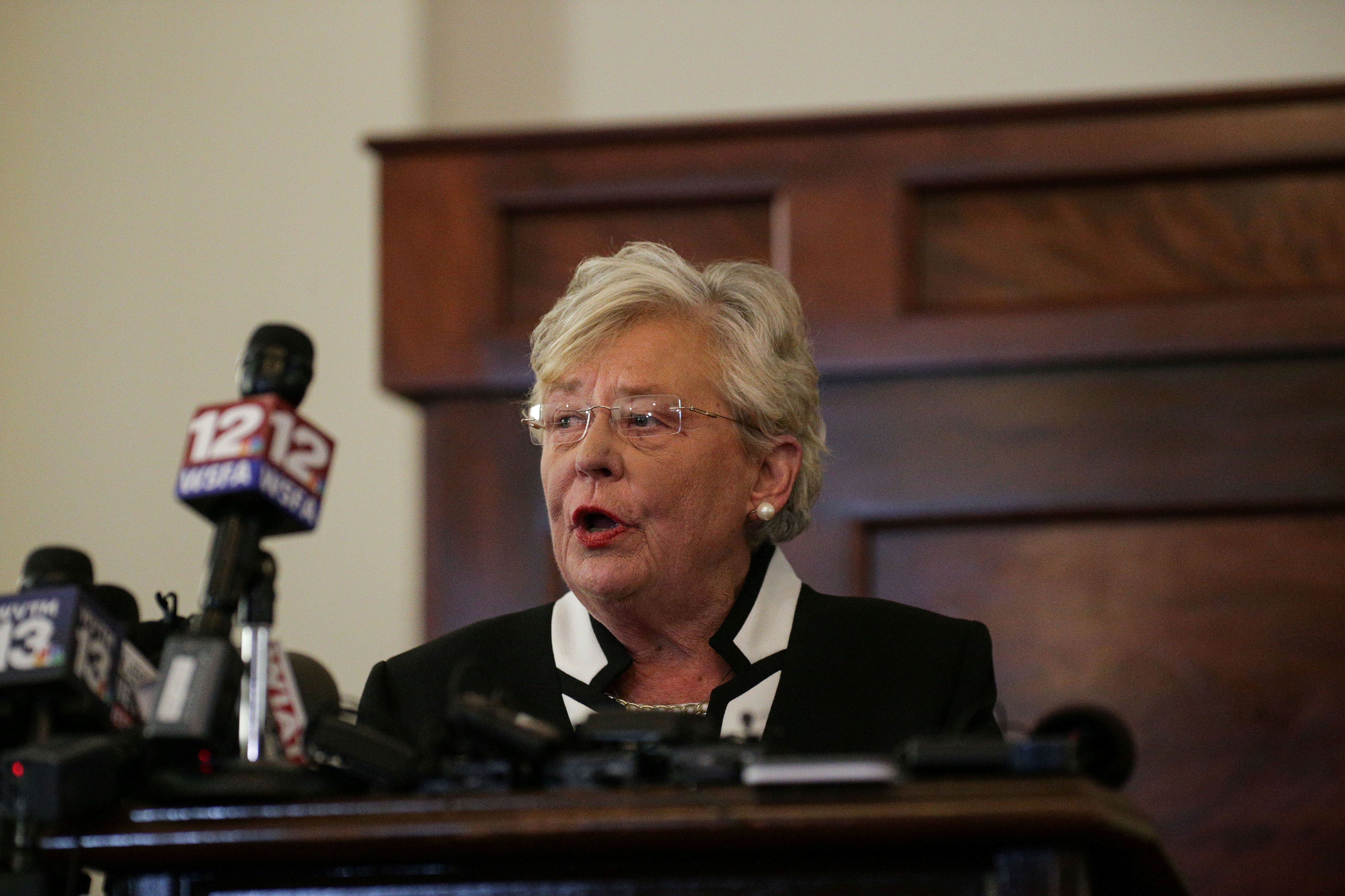 Alabama Gov.Kay Ivey (R) speaks on April 10 after beingsworn in.