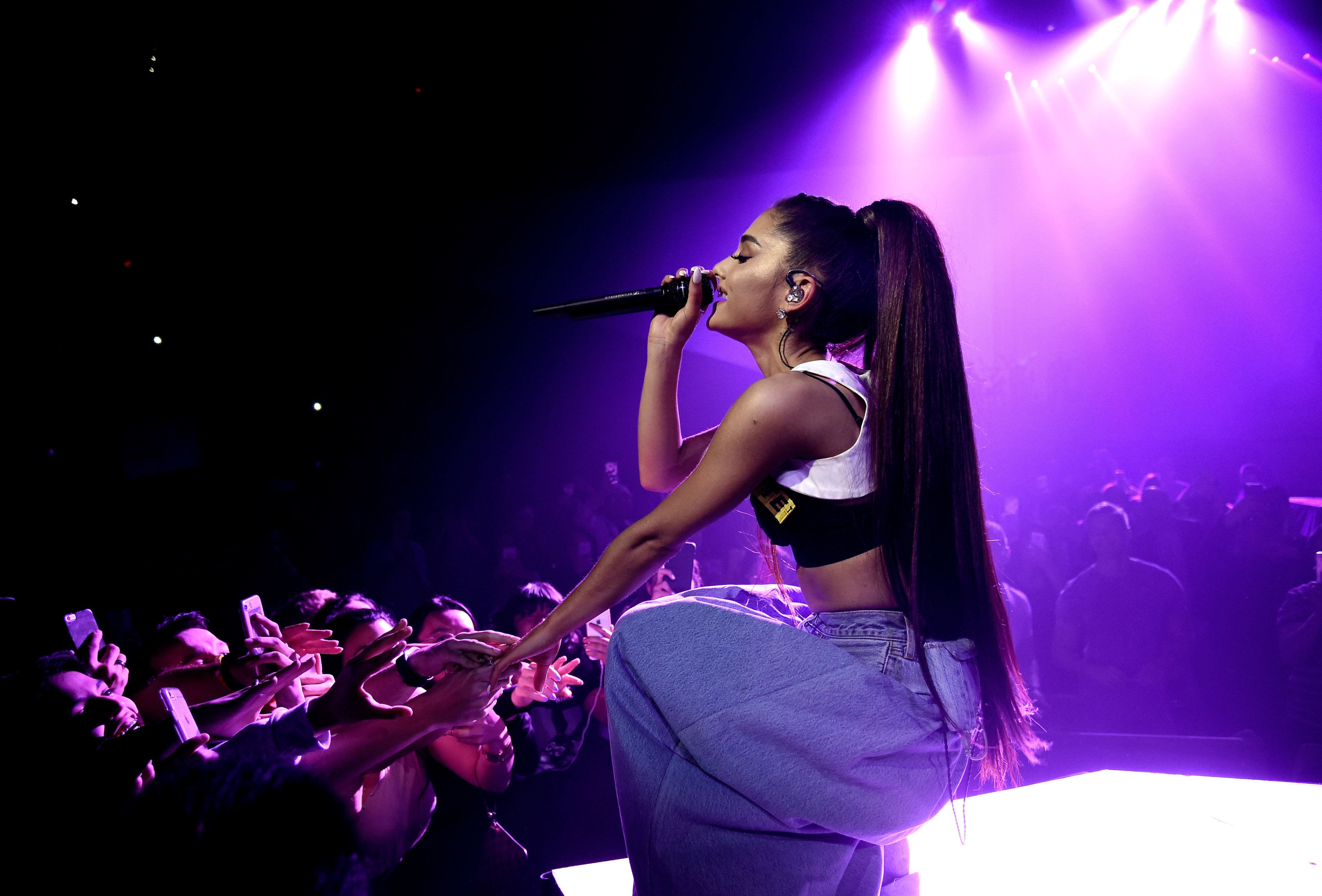 PHOENIX, AZ - FEBRUARY 03:  (EXCLUSIVE COVERAGE)  Ariana Grande performs on stage during the 'Dangerous Woman' Tour Opener at Talking Stick Resort Arena on February 3, 2017 in Phoenix, Arizona.  (Photo by Kevin Mazur/Getty Images for Live Nation)
