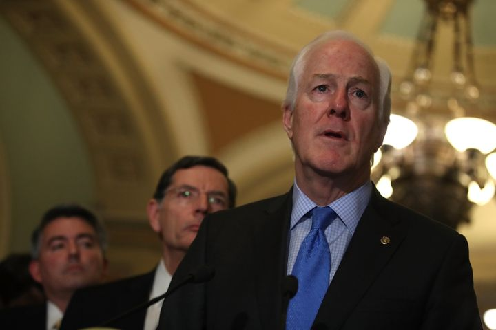 Sen. John Cornyn speaks during a news conference in Captiol Hill.
