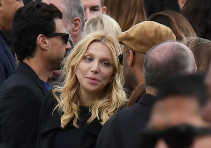 Courtney Love attends the funeral and memorial service for Soundgarden frontman Chris Cornell, May 26, 2017 at Hollywood Fore