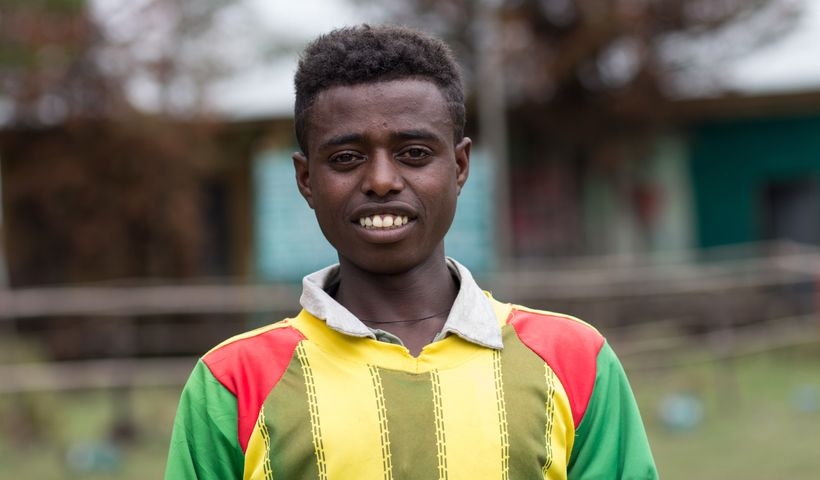 Alemayehu Belete, 17, a sixth grader in  Ethiopia.