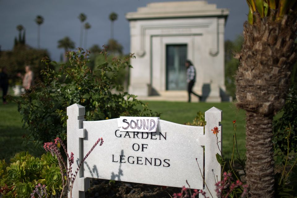 HOLLYWOOD, CA - MAY 26: An improvised sign turns the Garden of Legends to the Sound Garden of Legends where  Chris Cornell is