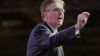 Lt. Gov. Dan Patrick speaks at the Republican Party of Texas State Convention at the Kay Bailey Hutchison Convention Center, Thursday, May 12, 2016 in Dallas. (Rodger Mallison/Fort Worth Star-Telegram/TNS via Getty Images)