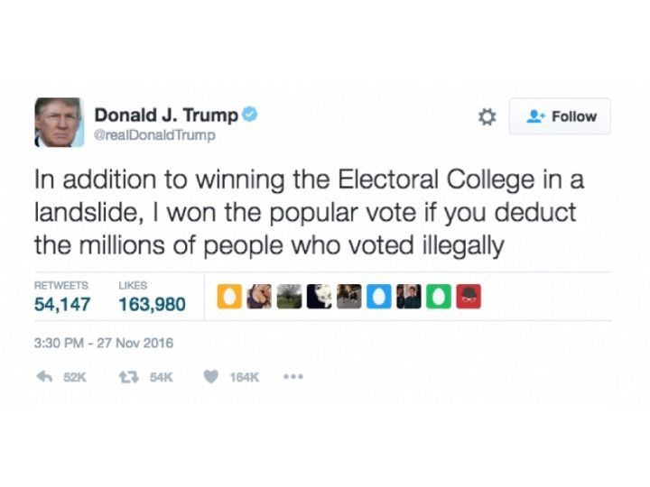 "In posting boastful tweets like this, which also includes a false statement, Trump is able to ""lean on"" his Electoral College"