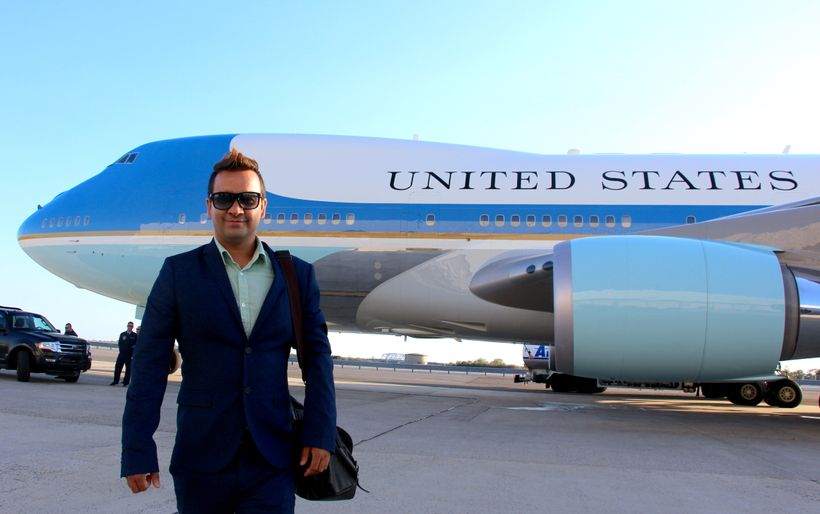 Front of the 'Air Force One', a United States Air Force aircraft  carrying the President of the United States.