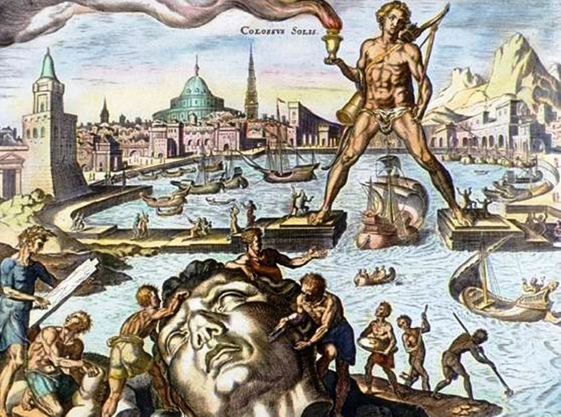 A hand-colored engraving of the Colossus of Rhodes, on of the Seven Wonders of the ancient world.