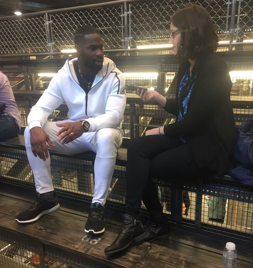 Jacobs interviews DeMarco Murray for an article.