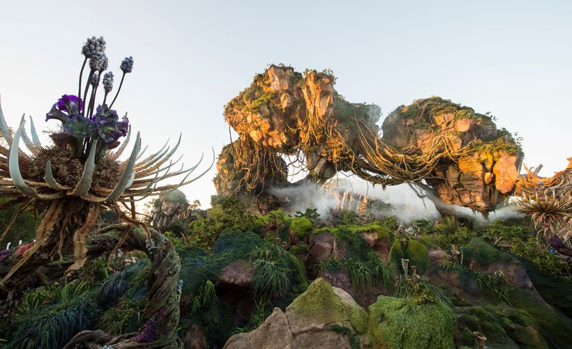 Floating mountains grace the skyline while exotic plants fill the colorful landscape inside Pandora - The World of Avatar