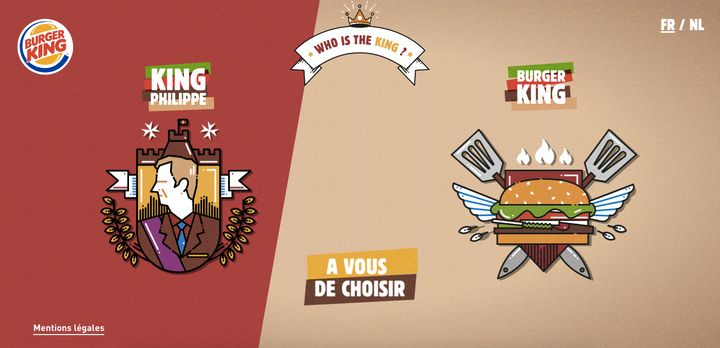 Burger King is asking the public to vote on whether King Philippe is king or if they are king.