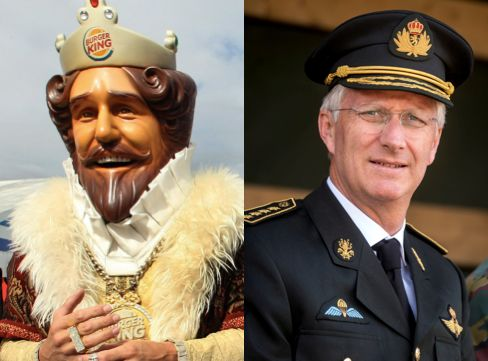The fictional Burger King mascot and King Philippe of Belgium are in arace to see who is the king.