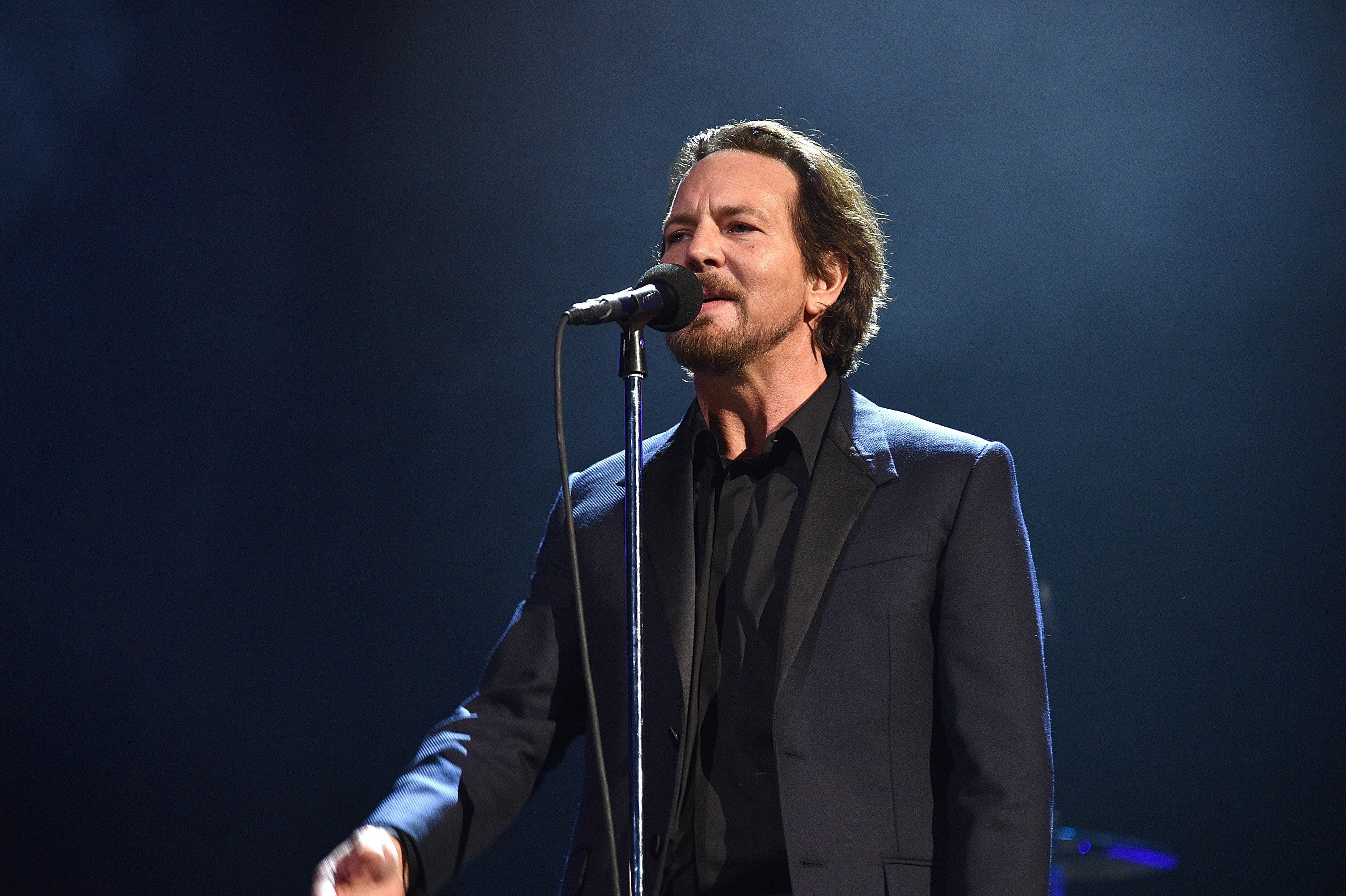 NEW YORK, NY - APRIL 07:  Inductee Eddie Vedder of Pearl Jam performs onstage during the 32nd Annual Rock & Roll Hall Of Fame Induction Ceremony at Barclays Center on April 7, 2017 in New York City. The broadcast will air on Saturday, April 29, 2017 at 8:00 PM ET/PT on HBO.  (Photo by Kevin Mazur/WireImage for Rock and Roll Hall of Fame)