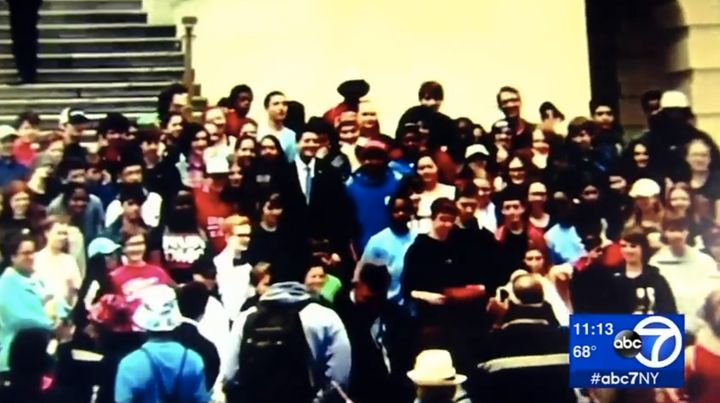 House Speaker Paul Ryan is seen posing with New Jersey middle school students in Washington on Thursday.
