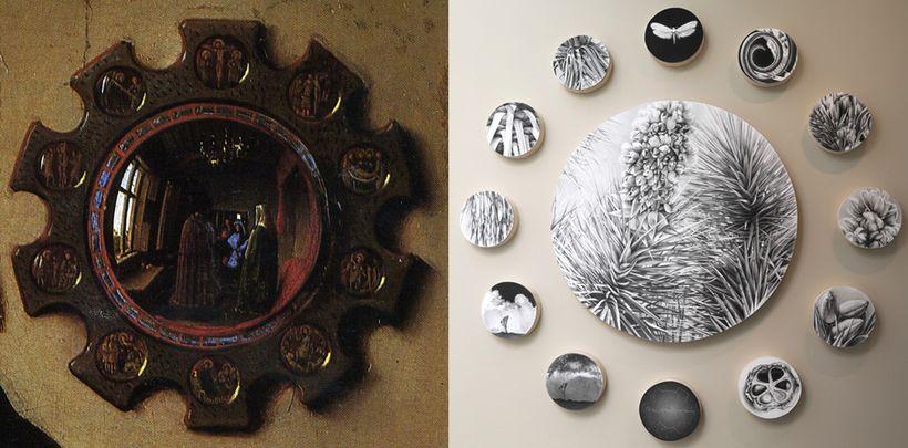 Left: Van Eyck's Mirror - Right: Ruane's installed panels