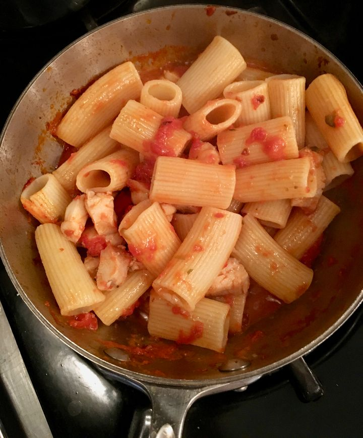 <p>Pasta added to sauce to finish cooking</p>