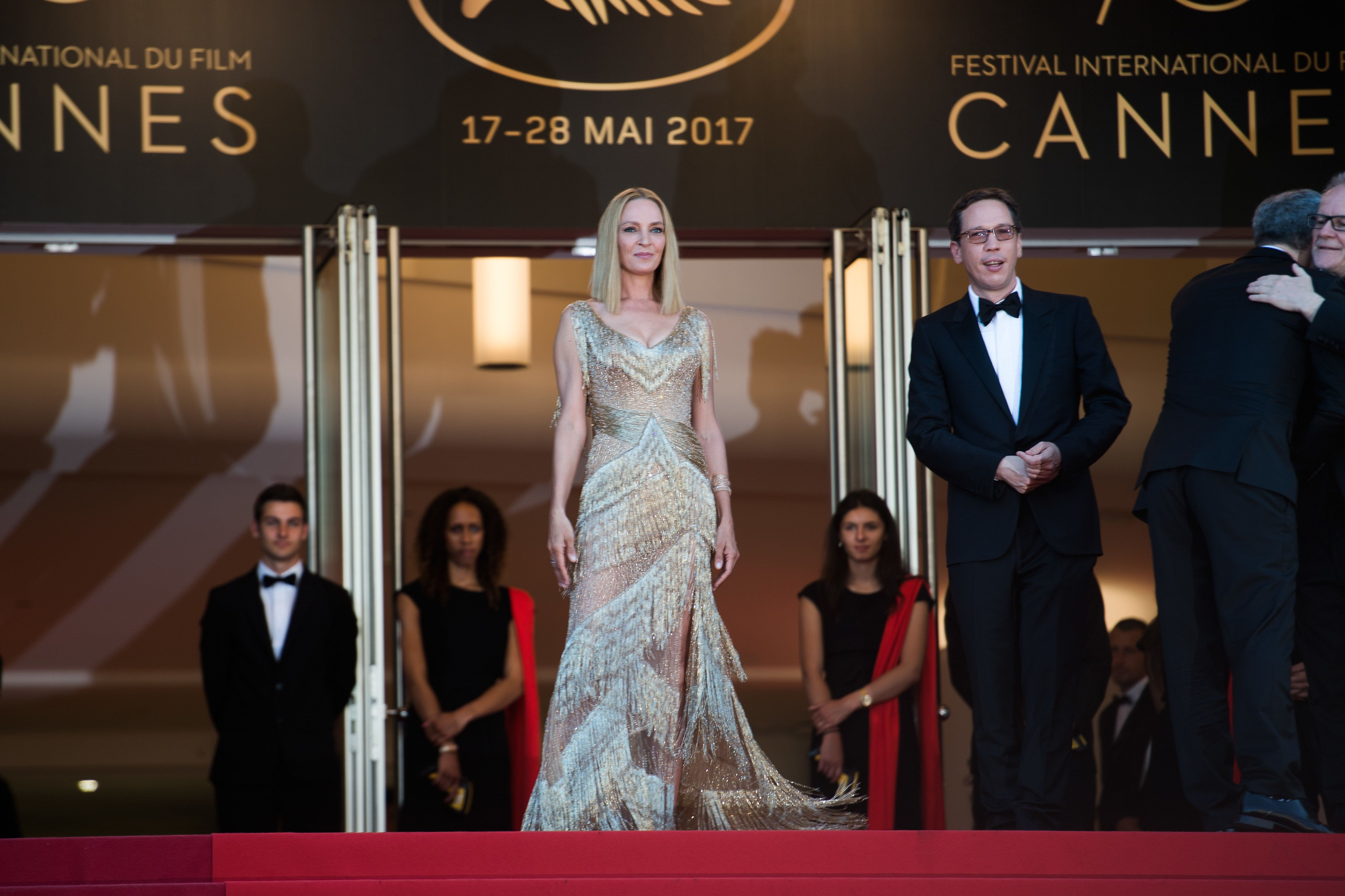 President of the Un Certain Regard jury Uma Thurman attends the Closing Ceremony of the 70th annual Cannes...