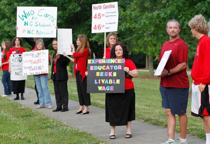North Carolina teachers demand a living wage.