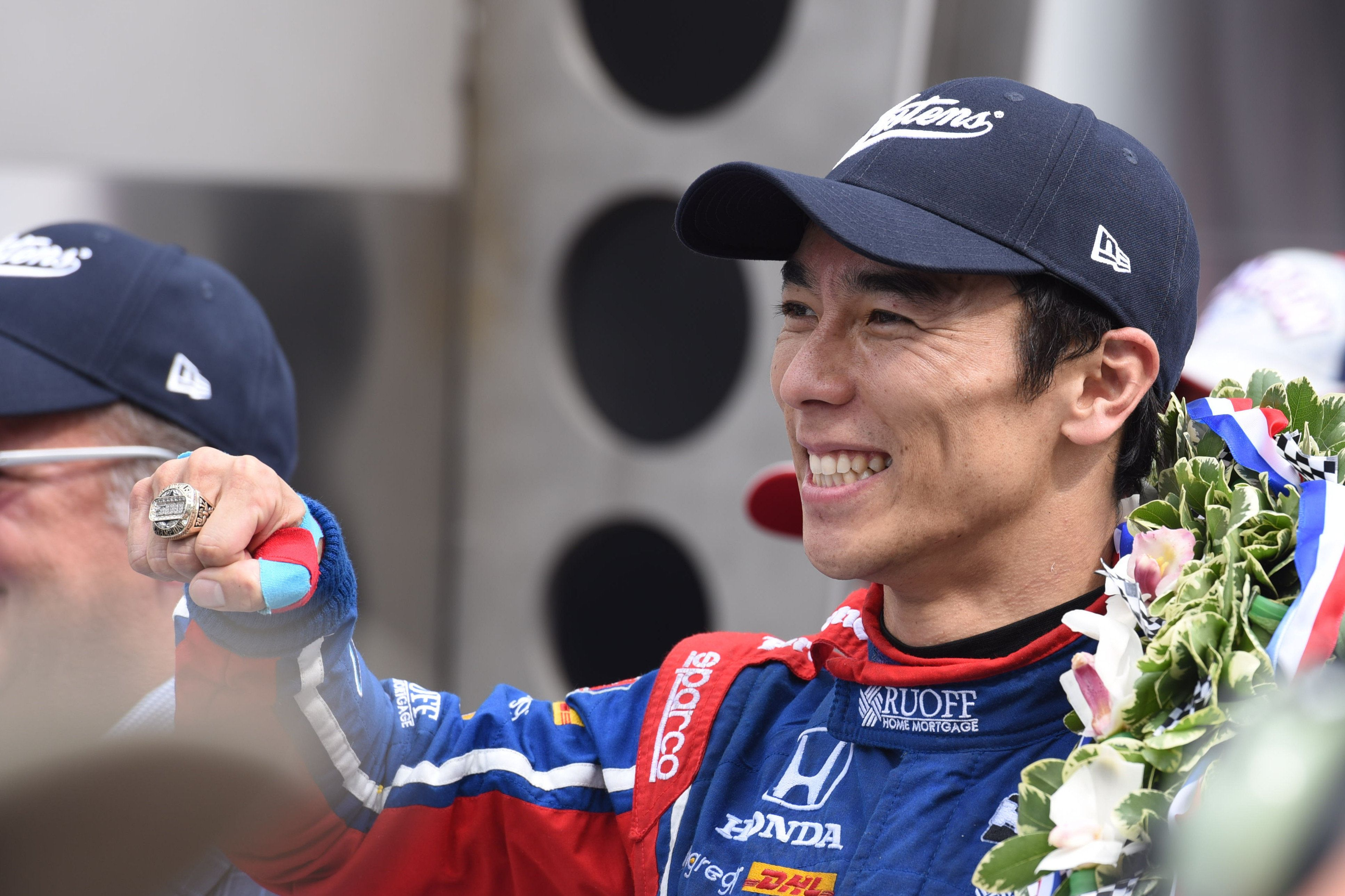 INDIANAPOLIS, IN - MAY 28: Takuma Sato celebrates winning the 101st Indianapolis 500 on May 28, 2017, at the Indianapolis Motor Speedway in Indianapolis, Indiana. (Photo by James Black/Icon Sportswire via Getty Images)