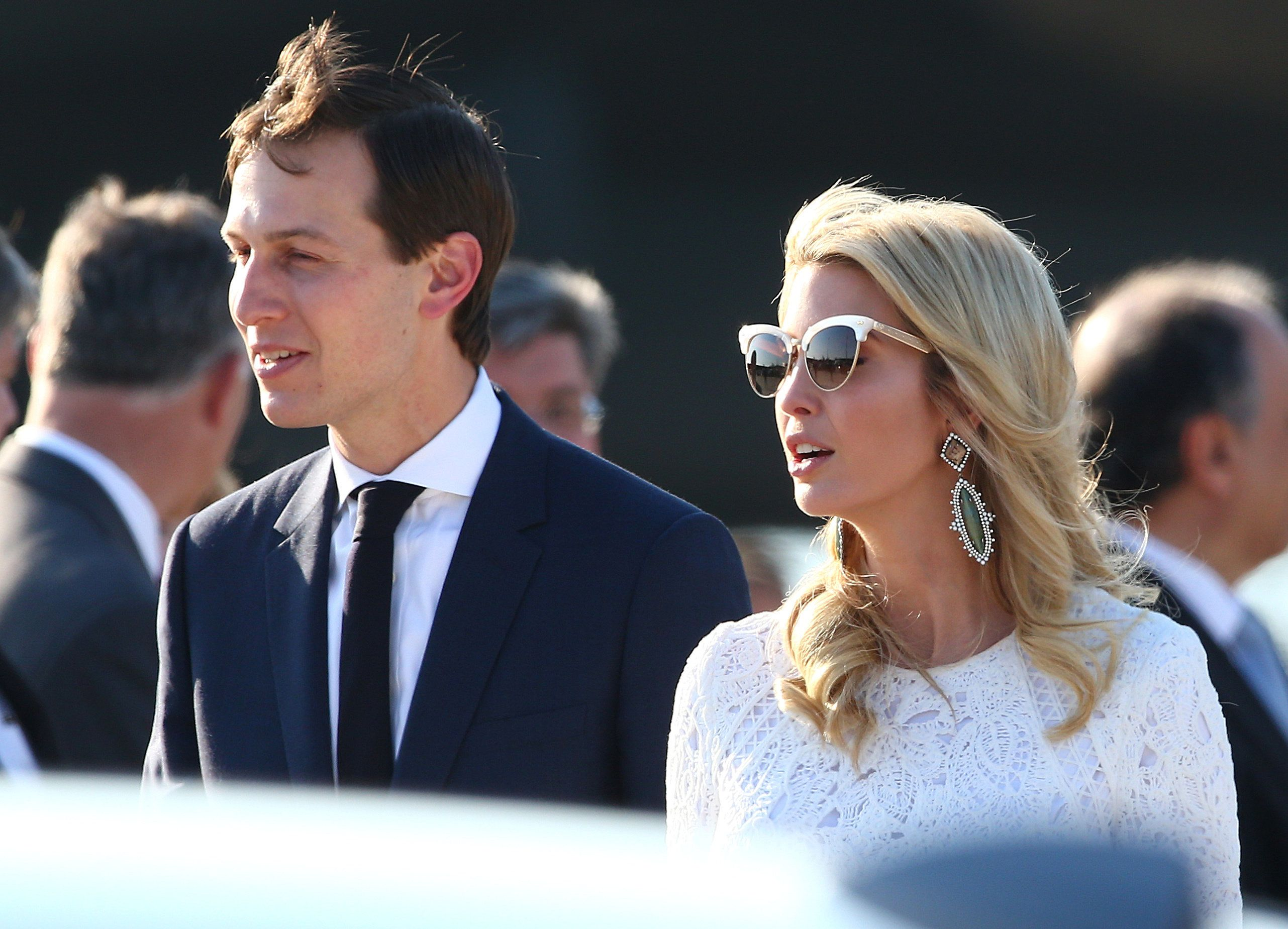 White House senior advisor Jared Kushner and his wife Ivanka Trump arrive at the Leonardo da Vinci-Fiumicino Airport in Rome, Italy, May 23, 2017.       REUTERS/Alessandro Bianchi