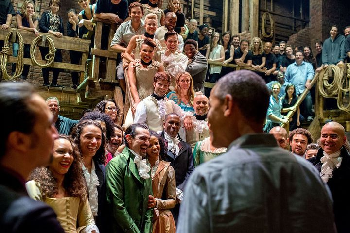 President Obama and the cast and crew of 'Hamilton' in NYC, 2015.