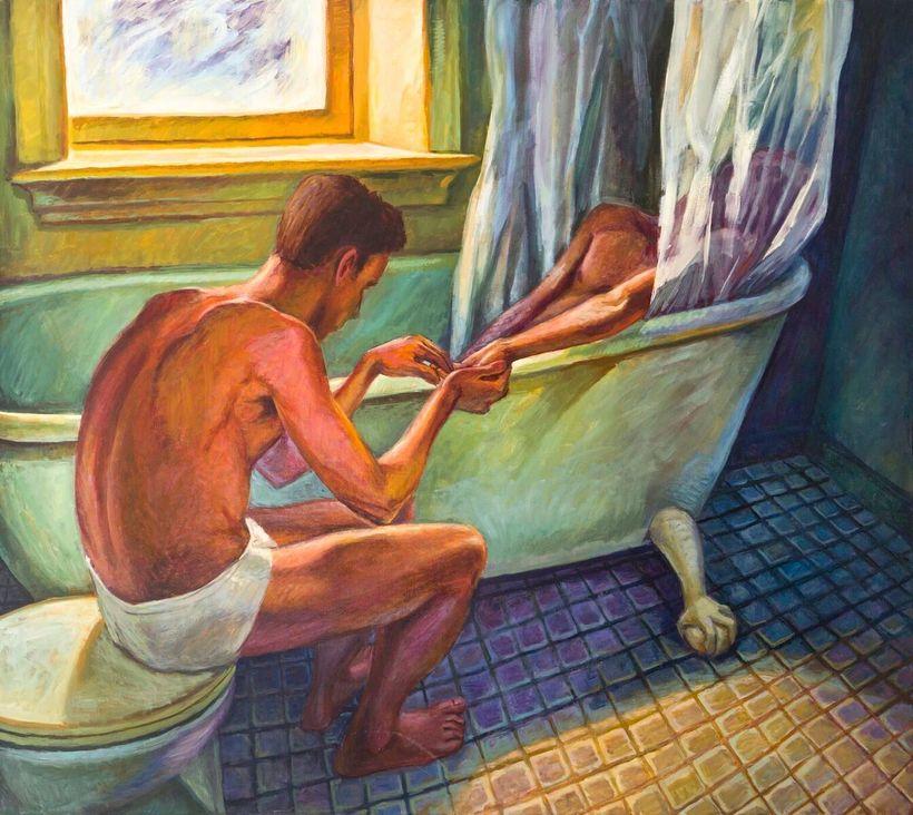 """Hugh Steers, """"Bath Curtain,"""" oil on canvas, 1992"""