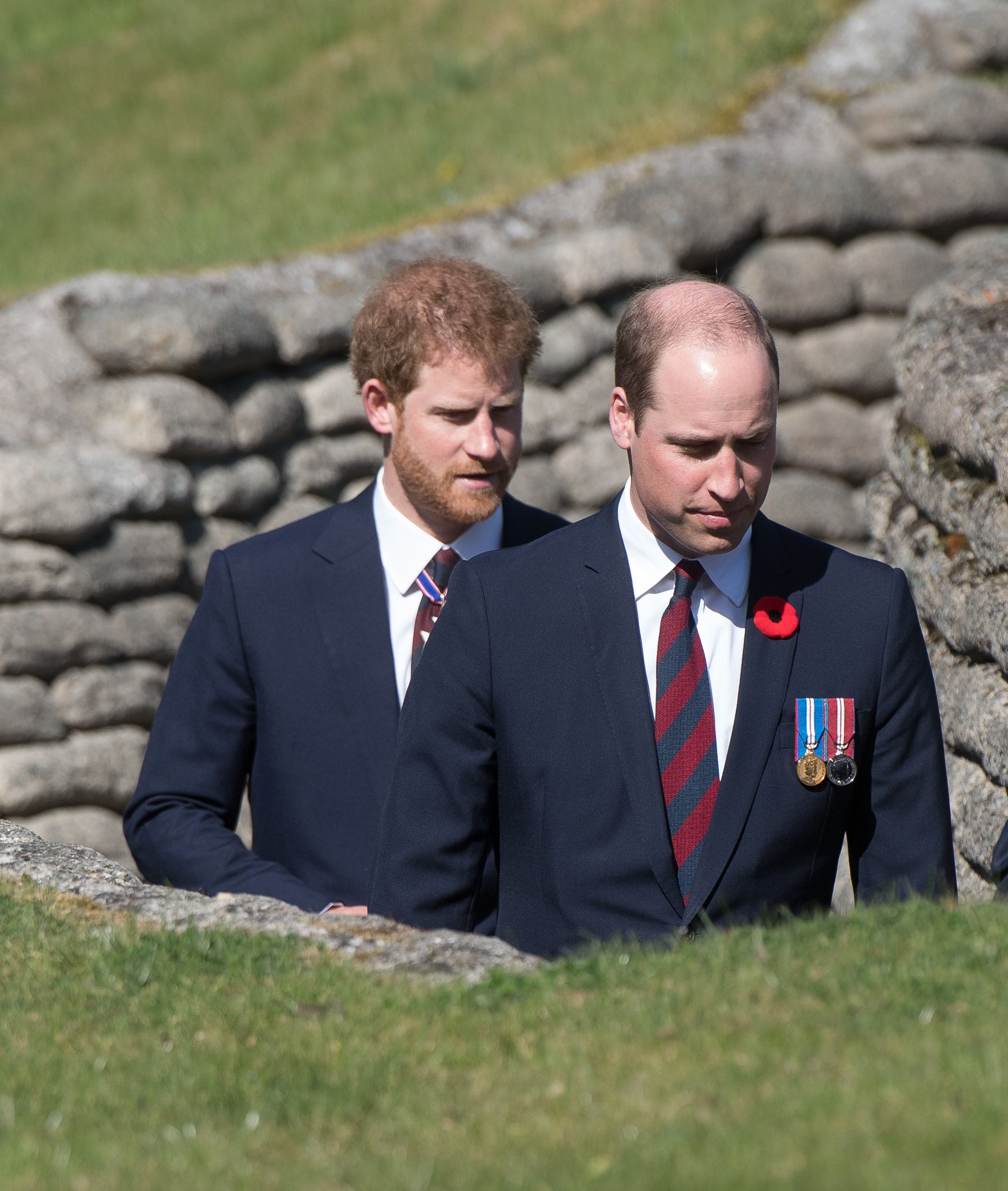 LILLE, FRANCE - APRIL 09:  Prince William, Duke of Cambridge and Prince Harry walk through a trench during the commemorations for the 100th anniversary of the battle of Vimy Ridge on April 9, 2017 in Lille, France.  (Photo by Samir Hussein/WireImage)