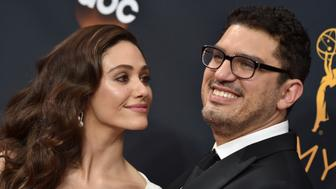 LOS ANGELES, CA - SEPTEMBER 18:  Actress Emmy Rossum (L) and writer/producer Sam Esmail arrive at the 68th Annual Primetime Emmy Awards at Microsoft Theater on September 18, 2016 in Los Angeles, California.  (Photo by Axelle/Bauer-Griffin/FilmMagic)