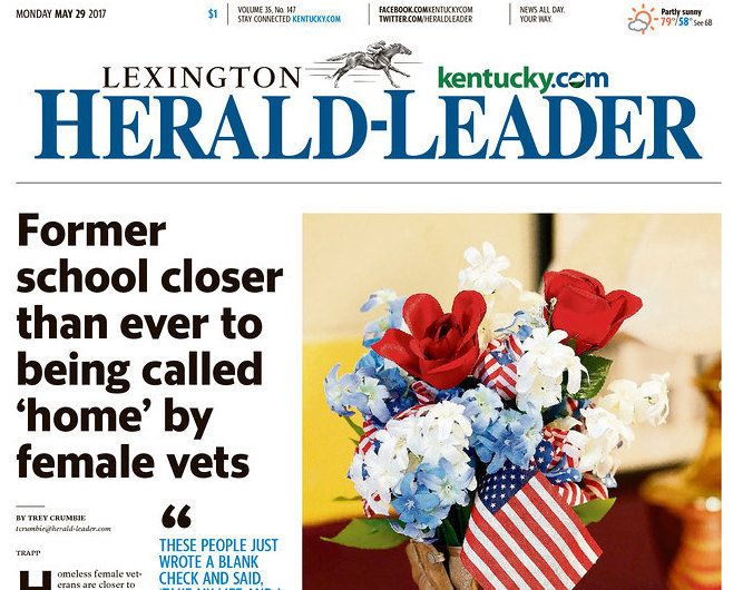 The front page of the May 29 edition of the Lexington