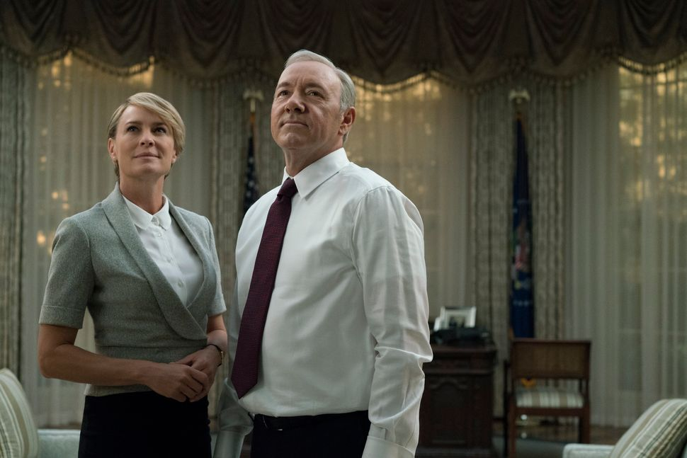 "Robin Wright and Kevin Spacey on ""House of Cards."""