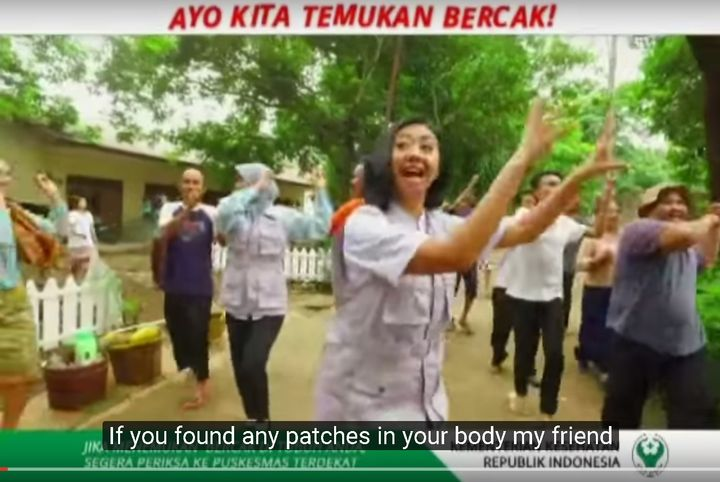 """Let's find patches,"" a song by the Health Ministry to raise leprosy awareness in Indonesia."