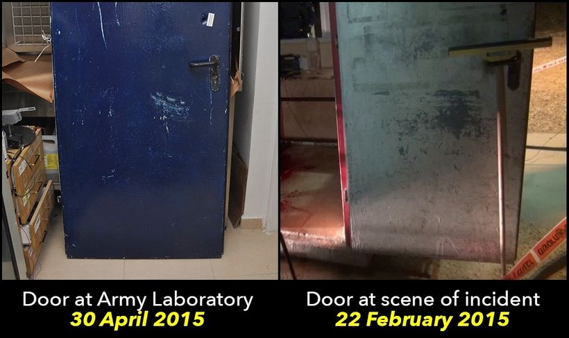 The door of the booth where Toveet was found dead was covered in a layer of paint before it underwent analysis